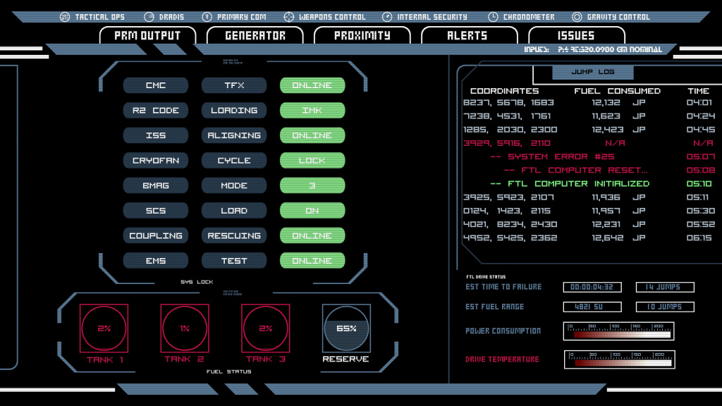 FTL System Report Screen Animatable