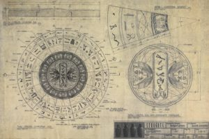 A production diagram of the coverstones used in the original Stargate film, detailing the center disc containing the address to Abydos, as well as a series of wedges which form two outer rings; a message in heirogyphics, and the 39 symbols on the stargate.